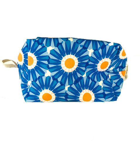 Medium Dopp Bag Blue Geo Flowers