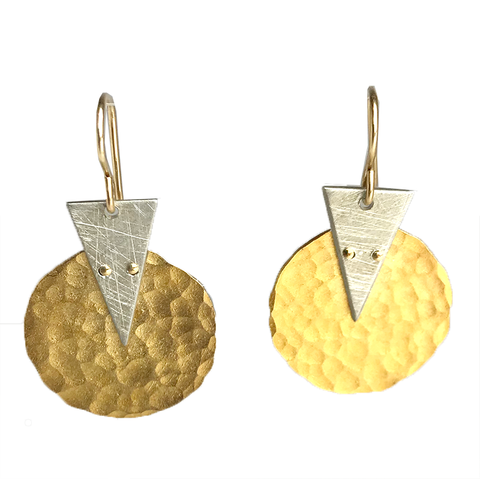Riveted Triangle & Disc Earrings