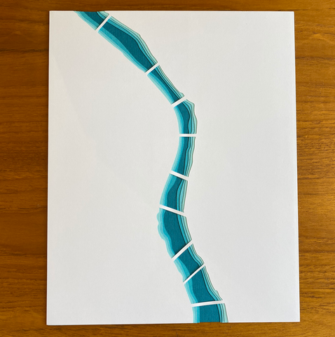 Portland Willamette River #1 Layered Papercut 8x10 (Aqua Blue)