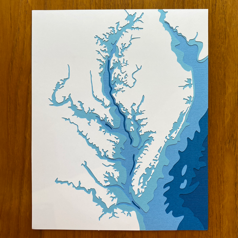 Chesapeake Bay Layered Papercut 8x10 (Royal Blue)