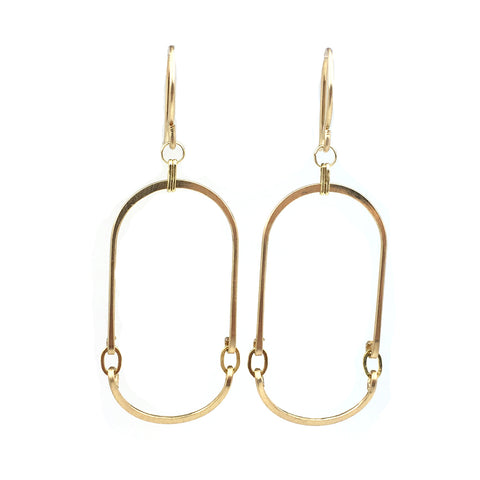 Gold Elongated Oval Earrings