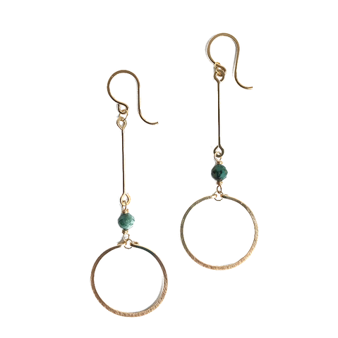 Circle Drop Gold Earrings - Turquoise