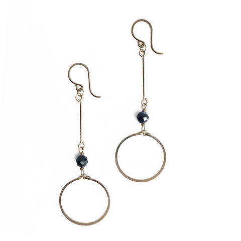 Circle Drop Gold Earrings - Sodalite
