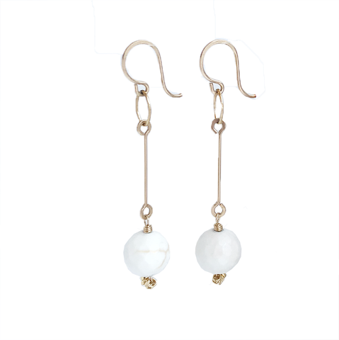 Bar Drop Earrings - Howlite