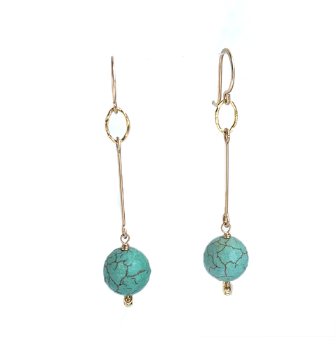 Bar Drop Earrings - Turquoise