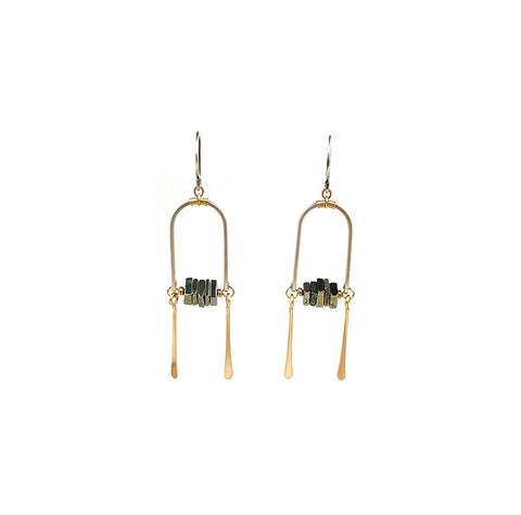 Framed Pyrite w/Fringe Earrings