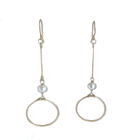 Circle Drop Gold Earrings - Pearl