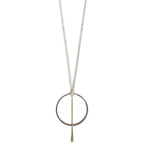 Circle Bar Silver Necklace