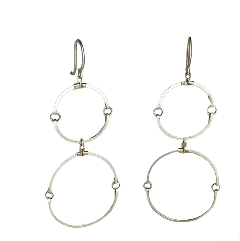 Double Hinged Circles Silver Earrings