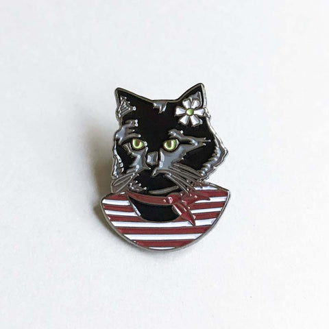 Black Cat Stripes pin