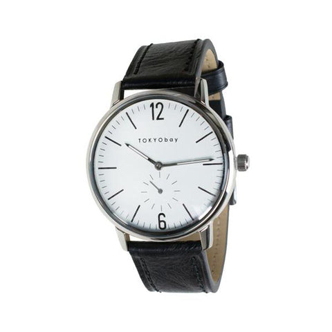 Grant Leather Watch: Beige/Black