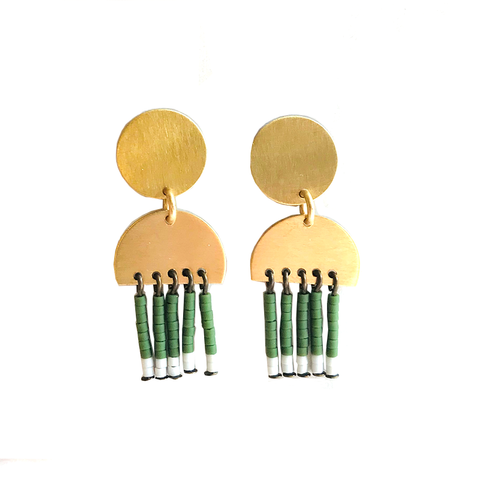 Mini Tassel Stud Earrings: Green