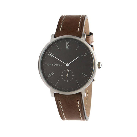 Noah Leather Watch: Grey/Vintage Taupe