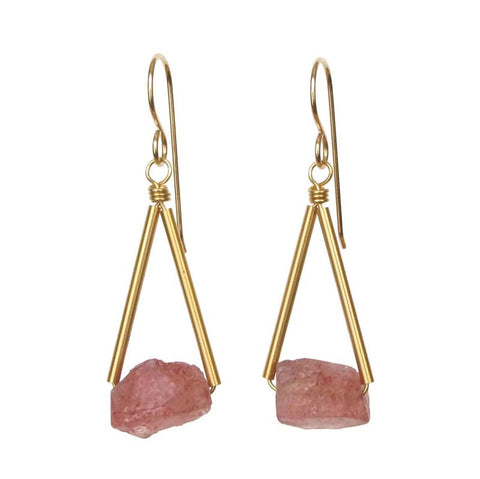 Pavi Earrings Gold Strawberry Quartz
