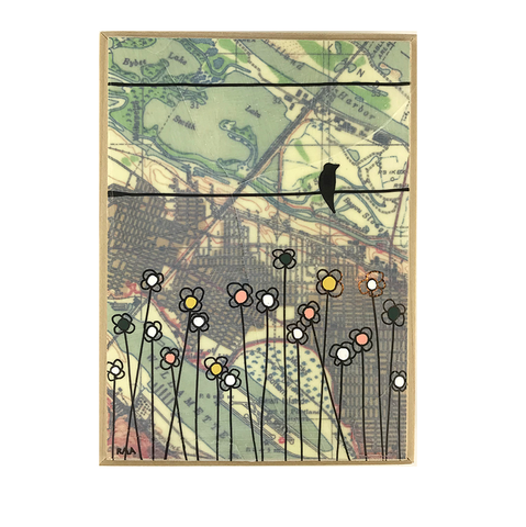 "5x7"" Map Painting: Crow on Lake Smith"