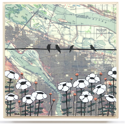 "8""x 8"" Map Painting: Portland White Flowers"