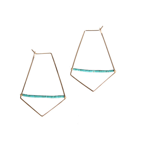 Hammered diamond gold & turquoise hoop earrings
