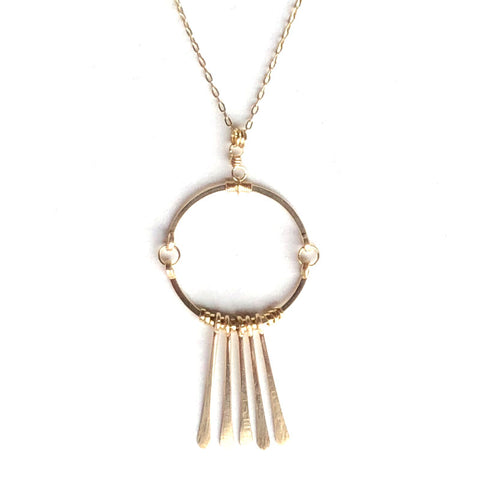 Circle Fringe Gold Necklace