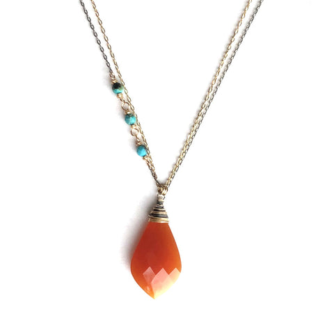 Willow Carnelian Turquoise necklace