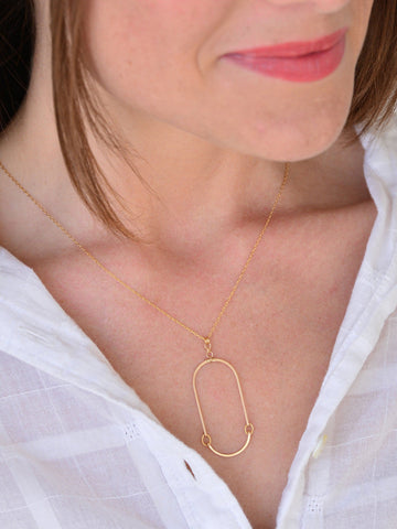 Elongated Gold Oval Necklace
