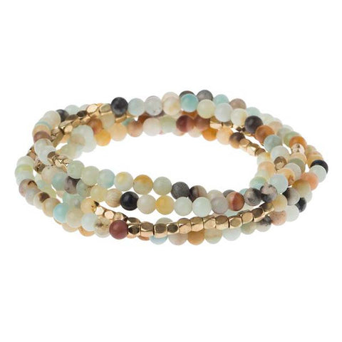 Stone wrap bracelet amazonite/gold