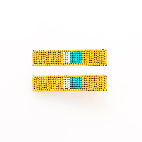 Beaded Hair Clip 2-Pack Yellow