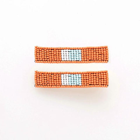 Beaded Hair Clip 2-Pack Coral