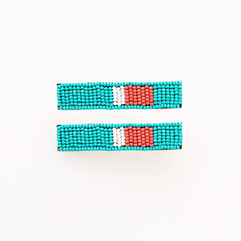 Beaded Hair Clip 2-Pack Turquoise