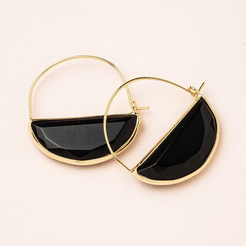 Stone Prism Hoops - Black Spinel/Gold