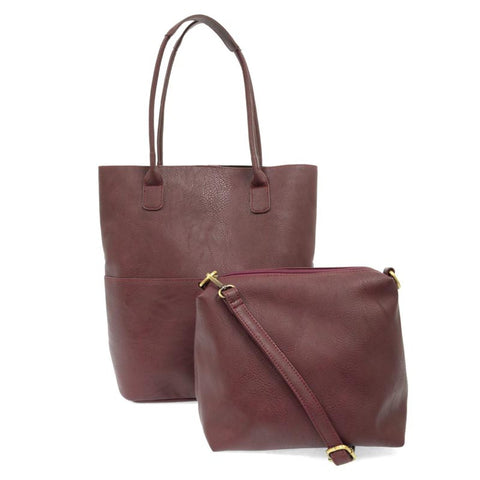 Kelly N/S Front Pocket Tote Burgundy