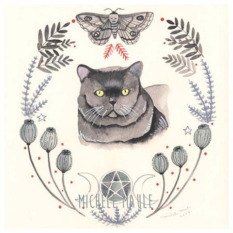 Witch Cat 8x8 Print