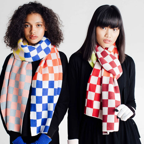 Checkerboard Scarf Camel/Poppy/Multi