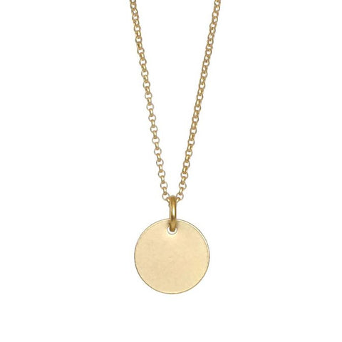 Simple Small Gold Disc Necklace