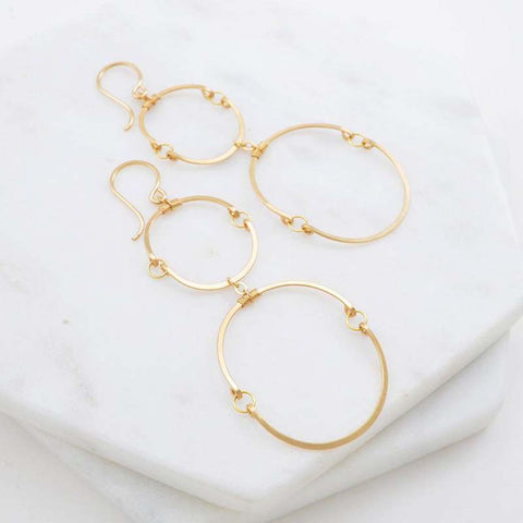 Double Hinged Circles Gold Earrings