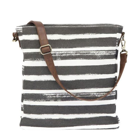 City Crossbody Sling: Stripes Charcoal
