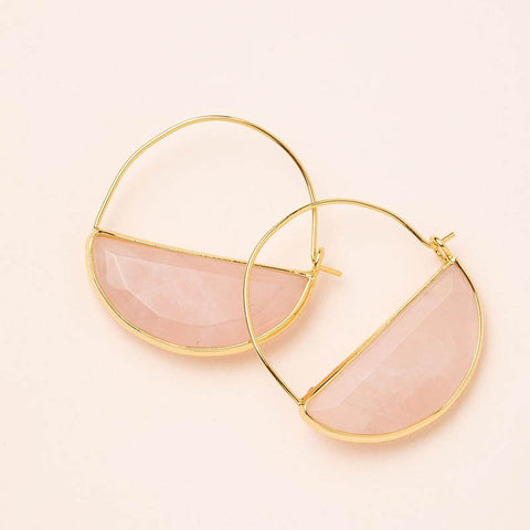Stone Prism Hoops - Rose Quartz/Gold