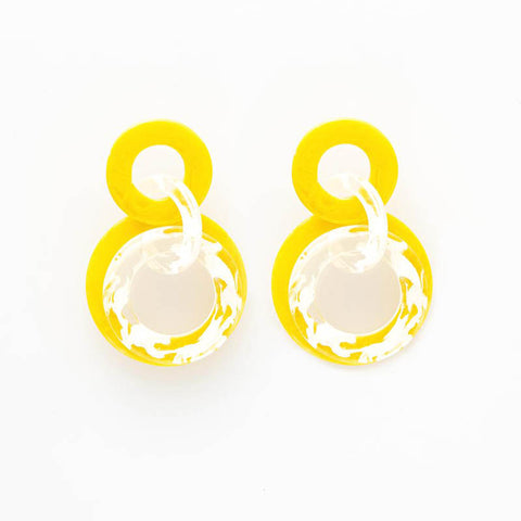"Resin Circle Dangle Earring 2.75"" Yellow"