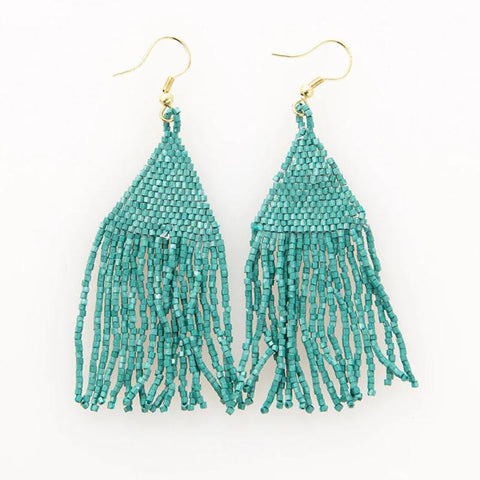 "Luxe Petite Fringe Earring 3.25"" Teal"