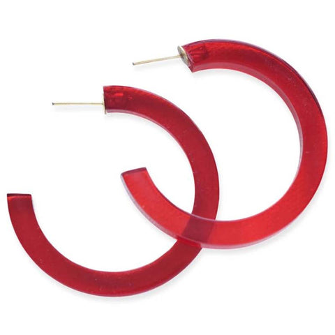 "Lucite Small Hoop Earring 2"" Red"