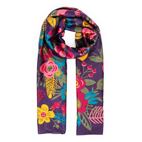 Satin Floral Scarf