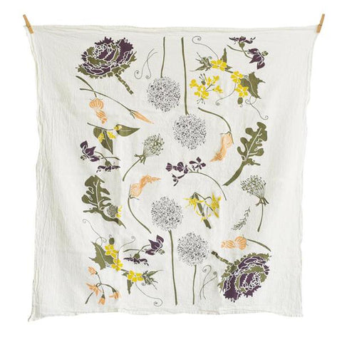 Flowering Veggies Tea Towel