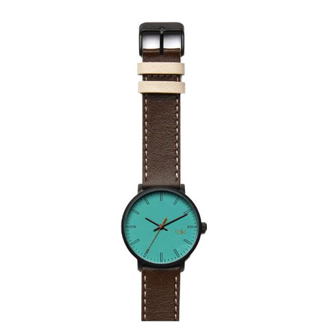 Franklin Leather Watch: Aqua/Brown