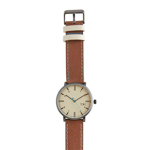 Rockford Leather Watch: Grey/Brown