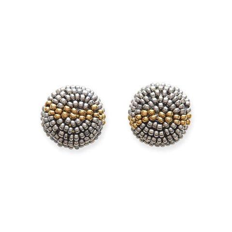 Button Gunmetal/Gold Earrings