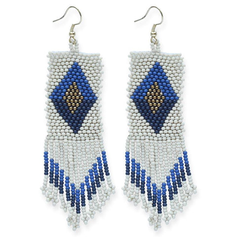 "Seed Bead Diamond Ivory/Lapis 4"" Earrings"