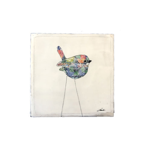 Fun Bird 2 - 6x6 Encaustic Art