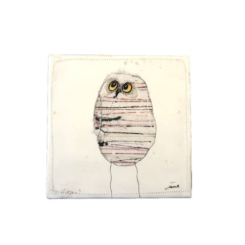 Wise Owl 1 - 6x6 Encaustic Art