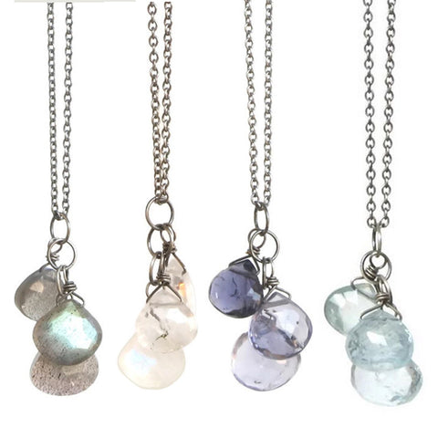 Julia Gemstone Necklace: Silver & Rainbow Moonstone