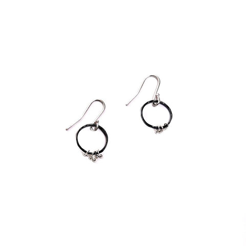 Freya Circle Bits oxidized earrings