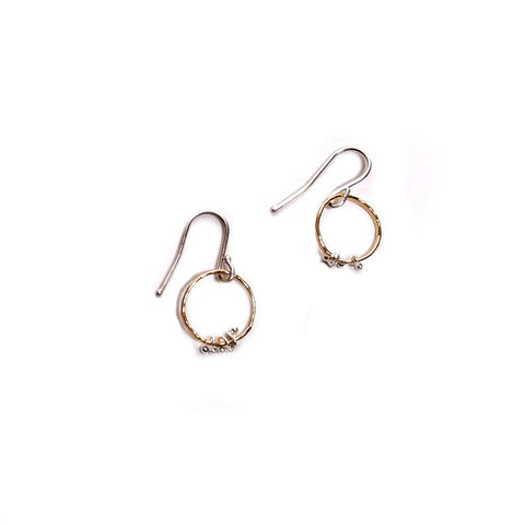 Freya Circle Bits brass earrings